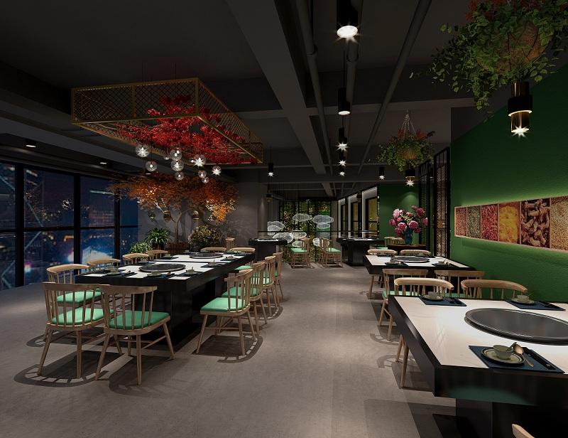 100平米火锅店设计,小型火锅店室内设计