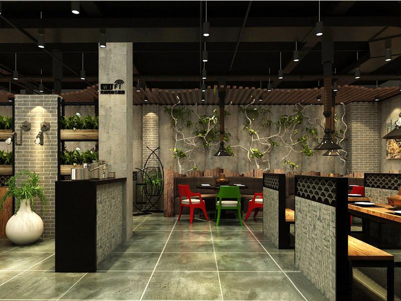 火锅店室内绿化设计,火锅店绿植设计