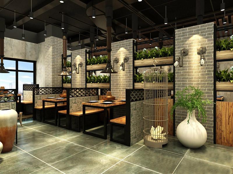 工业风火锅店室内绿植设计
