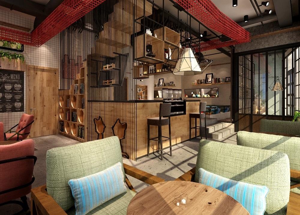 猫屋咖啡店设计—工业风