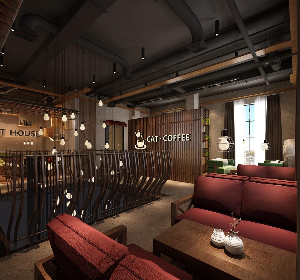设计说明: 本案猫屋咖啡店(cat house)整个空间采用时尚工业风的设计手法,设计师巧妙的将工业风中具有代表性的金属框架,运用在咖啡店室内的物架陈列上。  同时在咖啡店室内吊顶上同样也采用了工业风的裸露吊顶法,粗细分明的钢结构依然映入客人的眼眶,毫无违和感。在吊顶的色彩运用上,设计师也煞费苦心,多出来的红色地笼吊顶装饰,是本案设计师的一次大胆尝试,意在带给消费的客人不一般的视觉体验。  当然在本案咖啡店室内设计中,在木质材料上的运用同样丰富,木质材料的运用,让整个室内环境在深沉中带着一丝阳光、暖意,惊